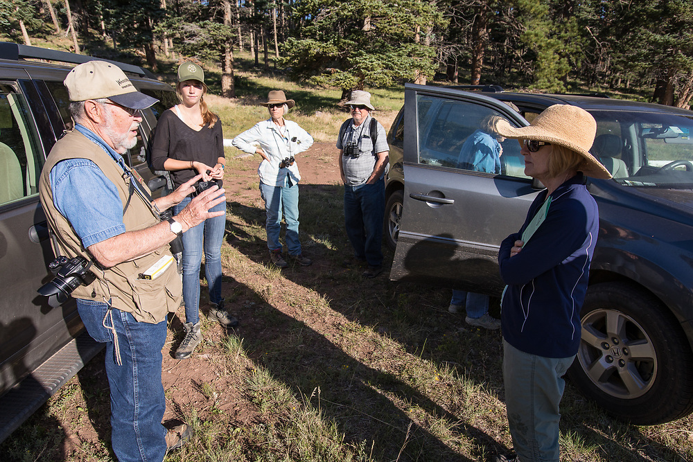 Birders and nascent birders join Leon Bright on a bird walk at Music Meadows Ranch, sponsored by the San Isabel Land Protection Trust.