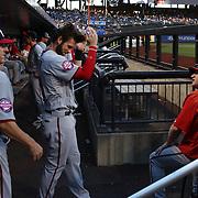 Bryce Harper, Washington Nationals, in the dugout with Matt Williams, Washington Nationals Manager, before the New York Mets Vs Washington Nationals MLB regular season baseball game at Citi Field, Queens, New York. USA. 31st July 2015. Photo Tim Clayton