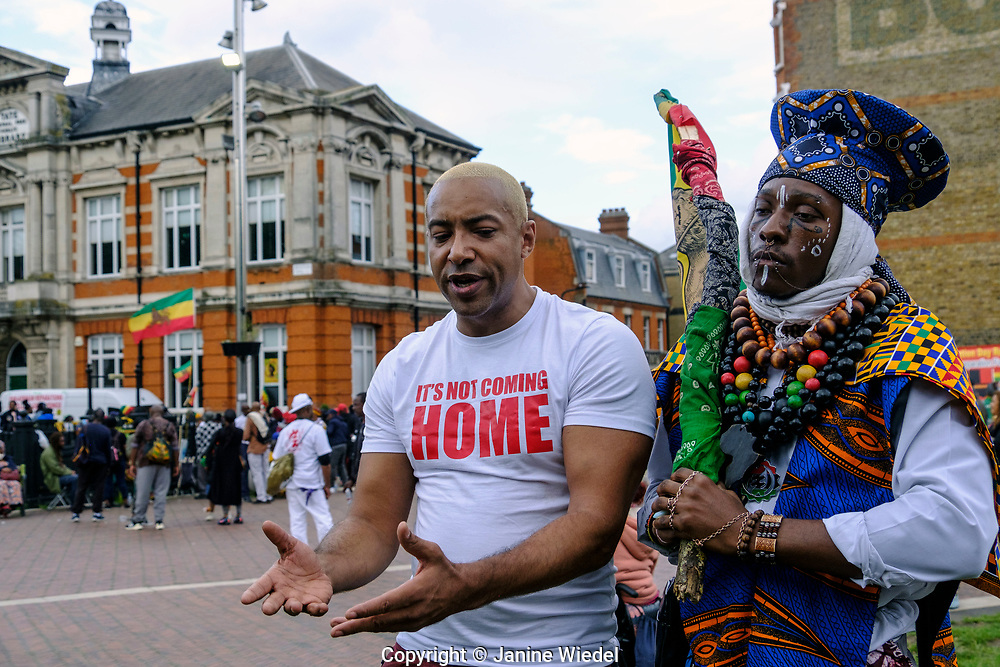 Musician / songwriter  Koba Kane at Reparations Revolution on Emancipation Day 2021. Windrush Square Brixton London