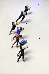 February 8, 2019 - Turin, Italy - Competitors in action on the track during the Men's 1,500-meter quarterfinals at the ISU World Cup Short Track in Turin, Italy.   (Credit Image: © Nicolò Campo/Lapresse via ZUMA Press)