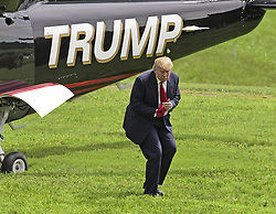 July 14, 2015 - Charlottesville, Virginia, United States of America - Donald Trump, a candidate for the 2016 Republican nomination for President of the United States, arrives via helicopter at the Albemarle Estate at the Trump Winery in Charlottesville, Virginia on Tuesday, July 14, 2015.   Trump was in Virginia to appear at the ribbon cutting for the new business venture..Credit: Ron Sachs / CNP. (Credit Image: © Ron Sachs/CNP/ZUMAPRESS.com)
