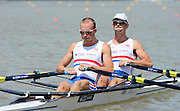 Chungju, South Korea. GBR LM2X, Bow Richard CHAMBERS and Peter CHAMBERS at the start of their heat at the 2013 FISA World Rowing Championships,  Tangeum Lake International Regatta Course. 11:59:44  Sunday  25/08/2013 [Mandatory Credit. Peter Spurrier/Intersport Images]
