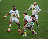 Rugby Union - 2020 / 2021 Gallagher Premiership - Gloucester vs Northampton Saints - Kingsholm<br /> <br /> Northampton Saints' Alex Mitchell is tackled by Gloucester's Santiago Carreras.<br /> <br /> COLORSPORT/ASHLEY WESTERN