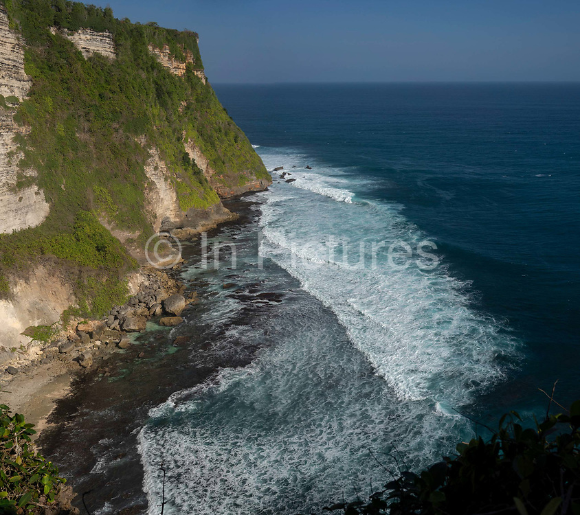 The Pura Luhur Uluwatu Temple overlooks the cliffs of Sungai Telaga Waja at the southernmost tip of the island of Bali, Indonesia, 17th June, 2018. Uluwatu Temple is a Balinese Hindu sea temple located in Uluwatu. The temple is regarded as one of the sad kahyangan and is dedicated to Sang Hyang Widhi Wasa in his manifestation as Rudra.