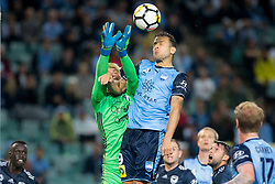 April 28, 2018 - Sydney, NSW, U.S. - SYDNEY, NSW - APRIL 28: Sydney FC forward Bobo (9) heads the ball in front of Melbourne Victory goalkeeper Lawrence Thomas (20) at the A-League Soccer Semi Final Match between Sydney FC and Melbourne Victory on April 28, 2018 at Allianz Stadium in Sydney, Australia. (Photo by Speed Media/Icon Sportswire) (Credit Image: © Speed Media/Icon SMI via ZUMA Press)