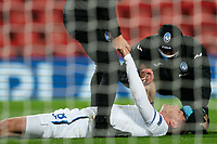 Football - 2020 / 2021 Champions League - Group D - Liverpool vs Atalanta - Anfield<br /> <br /> <br /> Atalanta's Robin Gosens lies injured<br /> <br /> <br /> COLORSPORT/TERRY DONNELLY