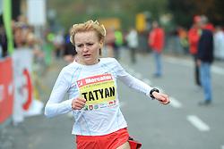 Zmagovalka Tatyana Mesentseva (UKR) v cilju na 13. Ljubljanskem maratonu po ulicah Ljubljane, 26. oktobra 2008, Ljubljana, Slovenija. (Photo by Vid Ponikvar / Sportal Images)./ Sportida)