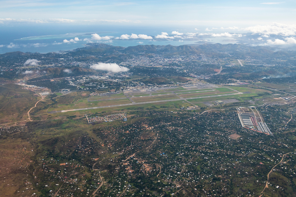 Aerial view of Jacksons International Airport, also known as Port Moresby Airport, in Port Moresby, Papua New Guinea.