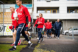 October 9, 2018 - LillestrØM, NORWAY - 181009 Mats Møller Dæhli, goalkeeper Ørjan Nyland, Iver Fossum, Nils Johan Semb, sports director of Norway and Lars Lagerbäck, head coach of Norway, arrive ahead of a training session on October 9, 2018 in Lillestrøm..Photo: Jon Olav Nesvold / BILDBYRÃ…N / kod JE / 160321 (Credit Image: © Jon Olav Nesvold/Bildbyran via ZUMA Press)