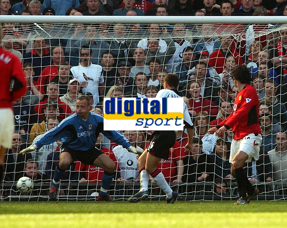Photo. Javier Garcia<br />22/03/2003 Man United v Fulham, FA Barclaycard Premiership, Old Trafford<br />Ruud Van Nistlerooy completes his hattrick after his shot deceives Maik Taylor after rebounding off Jon Harley