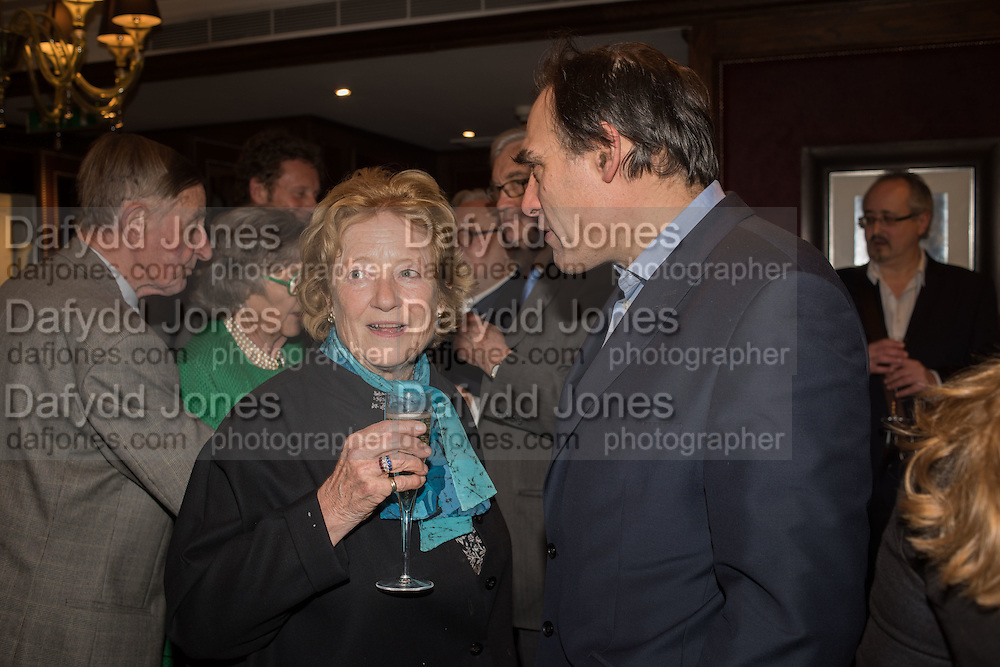 LADY CAZALET; PETER STRAUS,, David Campbell Publisher of Everyman's Library and Champagen Bollinger celebrate the completion of the Everyman Wodehouse in 99 volumes and the 2015 Bollinger Everyman Wodehouse prize shortlist. The Archive Room, The Goring Hotel. London. 20 April 2015.