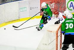 Zorko Luka of HK SZ Olimpija during Hockey match between SZ HD Olimpija and HDD Jesenice in 4tht match of Quarterfinals of Alps Hockey League, on March 13, 2018 in Hala Tivoli, Ljubljana, Slovenia. Photo by Ziga Zupan / Sportida