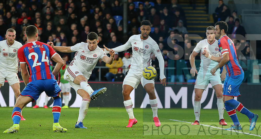 Sheffield United's John Egan has a shot on goal during the Premier League match at Selhurst Park, London. Picture date: 1st February 2020. Picture credit should read: Paul Terry/Sportimage