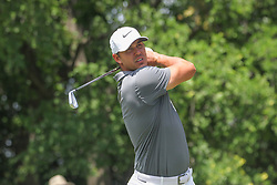 May 26, 2018 - Fort Worth, TX, U.S. - FORT WORTH, TX - MAY 26: Brooks Koepka (USA) hits from the 9th tee during the third round of the Fort Worth Invitational on May 26, 2018 at Colonial Country Club in Fort Worth, TX. (Photo by George Walker/Icon Sportswire) (Credit Image: © George Walker/Icon SMI via ZUMA Press)