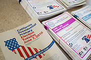Informational pamphlets are on display at Pomeroy Elementary School during the California Presidential Election in Milpitas, California, on June 7, 2016. (Stan Olszewski/SOSKIphoto)