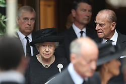 June 27, 2017 - London, United Kingdom - QUEEN ELIZABETH and PRINCE PHILIP leaving the funeral of Countess Mountbatten of Burma at  St.Paul's church in Knightsbridge. (Credit Image: © Stephen Lock/i-Images via ZUMA Press)