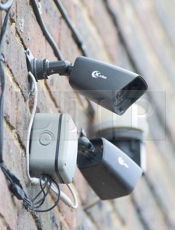 ©Licensed to London News Pictures 27/09/2019.<br /> New Ash Green ,UK. CCTV camera on the house. Sarah Wellgreen's house at Bazes Shaw, New Ash Green in Kent has the curtains drawn in the middle of the day and a new front door after the police forced entry last year. The mother of five has never been found, she disappeared in October 2018. Former partner Ben Lacomba (38) is due to stand trial for her murder next week. Photo credit: Grant Falvey/LNP