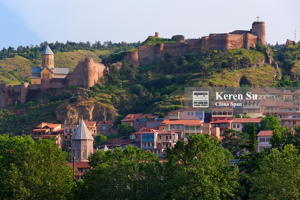 Cityscape, old town with city walls on the hill,  Tbilisi, Georgia