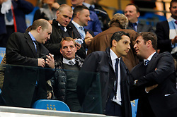 Liverpool Manager Brendan Rogers looks on from the stands before the first half of the match - Photo mandatory by-line: Rogan Thomson/JMP - Tel: Mobile: 07966 386802 - 02/10/2013 - SPORT - FOOTBALL - Etihad Stadium, Manchester - Manchester City v Bayern Munich - UEFA Champions League Group D.