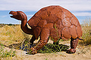 Metal tortoise sculptures by Ricardo Breceda at Galleta Meadows Estate, Borrego Springs, California USA