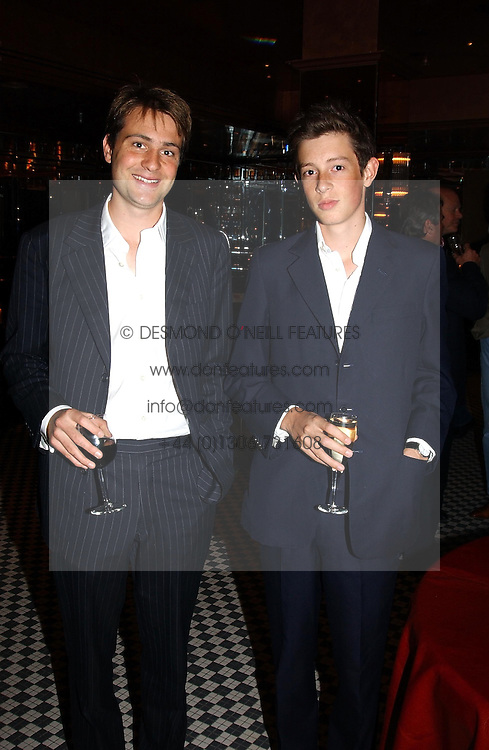 Left to right, BEN GOLDSMITH and his brother in law JAMES ROTHSCHILD at a party hosted by Frankie Dettori, Marco Pierre White and Edward Taylor to celebrate the launch of Frankie's Italian Bar & Grill at 3 Yeomans Row, London SW3 on 2nd September 2004.