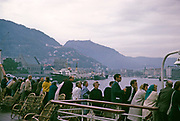 TS Leda, Bergen to Newcastle ferry ship service leaving harbour at Bergen, Norway, 1966 passengers onboard