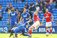 Cardiff City midfielder Leandro Bacuna (7) tussles with Bristol City's Rob Atkinson (5) during the EFL Sky Bet Championship match between Cardiff City and Bristol City at the Cardiff City Stadium, Cardiff, Wales on 28 August 2021.