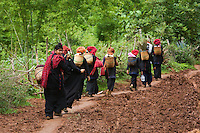 """Ethnic Pa-O women on the way home after visiting the Thaung Tho Kyaung Market, Inle Lake, Shan State, Myanmar<br /> Available as Fine Art Print in the following sizes:<br /> 08""""x12""""US$   100.00<br /> 10""""x15""""US$ 150.00<br /> 12""""x18""""US$ 200.00<br /> 16""""x24""""US$ 300.00<br /> 20""""x30""""US$ 500.00"""