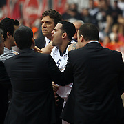 Anadolu Efes's Jordan Farmar (C) during their Turkish Airlines Euroleague Basketball playoffs Game 5 Olympiacos between Anadolu Efes at SEF Indoor Hall in Piraeus, in Greece, Friday, April 26, 2013. Photo by TURKPIX