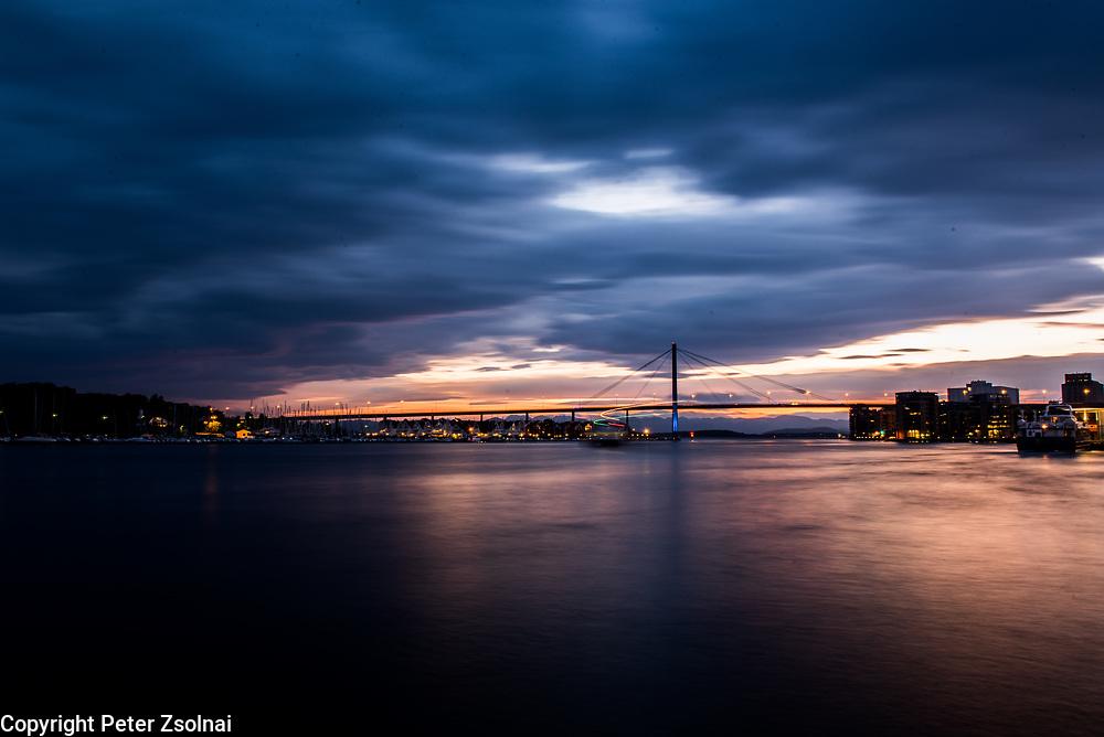 Sun is setting in the port of Stavanger