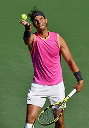 March 15, 2019 - Indian Wells, CA, U.S. - INDIAN WELLS, CA - MARCH 15: Rafael Nadal (ESP) serving in the second set of a quarterfinals match played during the BNP Paribas Open on March 15, 2019 at the Indian Wells Tennis Garden in Indian Wells, CA. (Photo by John Cordes/Icon Sportswire) (Credit Image: © John Cordes/Icon SMI via ZUMA Press)