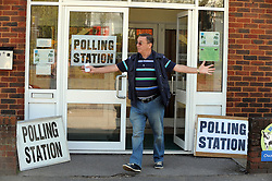© Licensed to London News Pictures. 02/05/2013.A Man celebrating after voting..Local county council Elections polling day today (02.05.2013)  voting at Christ Church Centre polling station in Swanley, Kent..Photo credit :Grant Falvey/LNP