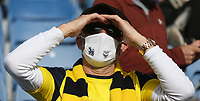 Oxford United fan<br /> <br /> Photographer Rob Newell/CameraSport<br /> <br /> Sky Bet League One Play-Off Semi-Final 1st Leg - Oxford United v Blackpool - Tuesday 18th May 2021 - Kassam Stadium - Oxford<br /> <br /> World Copyright © 2021 CameraSport. All rights reserved. 43 Linden Ave. Countesthorpe. Leicester. England. LE8 5PG - Tel: +44 (0) 116 277 4147 - admin@camerasport.com - www.camerasport.com