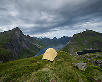 Wild camping above Forsfjord, Moskenesøy, Lofoten Islands, Norway