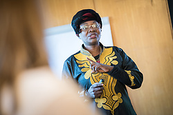 21 September 2017, Geneva, Switzerland: World Council of Churches staff gather for the annual Staff Enrichment Days. Here, Fulata Moyo leads a Bible study on Gender and Development.