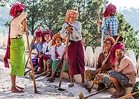 INLE LAKE, MYANMAR - DECEMBER 09, 2016 : women tribe resting and laughing near Kalaw Shan state in Myanmar (Burma)