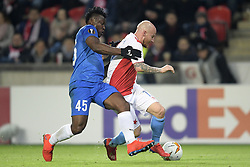 February 14, 2019 - Prague, CZECH REPUBLIC - Genk's Joseph Aidoo and Slavia's Miroslav Stoch fight for the ball during a soccer game between Czech club SK Slavia Praha and Belgian team KRC Genk, the first leg of the 1/16 finals (round of 32) in the Europa League competition, Thursday 14 February 2019 in Prague, Czech Republic. BELGA PHOTO YORICK JANSENS (Credit Image: © Yorick Jansens/Belga via ZUMA Press)