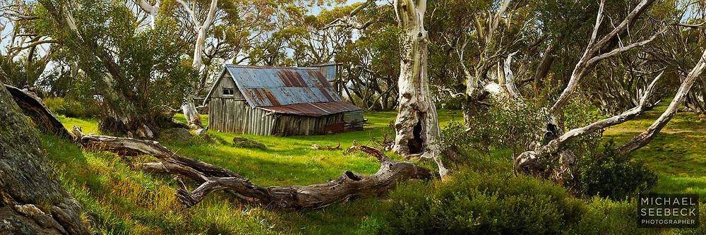 A panoramic photograph of Wallace's Hut taken early on a Spring morning.<br /> <br /> Limited Edition of 125