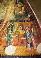 Twelfth century Romanesque frescoes of the Apse of Estaon depicting a Byzantine style angels with Archangel Michael, from the church of Sant Eulalia d'Estaon, Vall de Cardos, Catalonia, Spain. National Art Museum of Catalonia, Barcelona. MNAC 15969 .<br /> <br /> If you prefer you can also buy from our ALAMY PHOTO LIBRARY  Collection visit : https://www.alamy.com/portfolio/paul-williams-funkystock/romanesque-art-antiquities.html<br /> Type -     MNAC     - into the LOWER SEARCH WITHIN GALLERY box. Refine search by adding background colour, place, subject etc<br /> <br /> Visit our ROMANESQUE ART PHOTO COLLECTION for more   photos  to download or buy as prints https://funkystock.photoshelter.com/gallery-collection/Medieval-Romanesque-Art-Antiquities-Historic-Sites-Pictures-Images-of/C0000uYGQT94tY_Y
