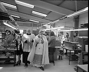 Opening of Telectron Factory in Donegal.<br /> 1974.<br /> 08.04.1974.<br /> 04.08.1974.<br /> 8th April 1974.<br /> Today saw the official opening of the Telectron Electronics factory in Donegal. The Factory opened at The Gaeltacht Industrial Park, Bunbeg, Co Donegal. It saw a welcome jobs boost for what is regarded as one of the countries employment blackspots. The Minister for Posts and Telegraphs,Mr Conor Cruise-O'Brien was on hand to officiate at the opening.<br /> Pictured are members of the local clergy as the bless the factory and workers at the official opening of Telectron.
