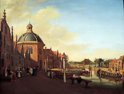 The Docking Basin in the Barge Canal in Leidschendam by Paulus Constantijn la Fargue (1729-1782) oil on panel, 1756.  A good public transport system by water existed in the west and north of the Netherlands from the middle of the 17th century.  Horse-drawn barges were crucial to this system.  An extensive network of canals crisscrossing the flat, watery countryside made it possible to travel easily and inexpensively.