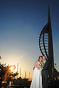 Portsmouth Spinnaker Tower, wedding at sunset. Wedding photography by David Timpson Photography featuring Royal Bath Hotel Bournmouth, Fort Nelson, The Master Builders House Hotel, Southampton Registry office, Grand Harbour Hotel Southampton, Portsmouth Registry office