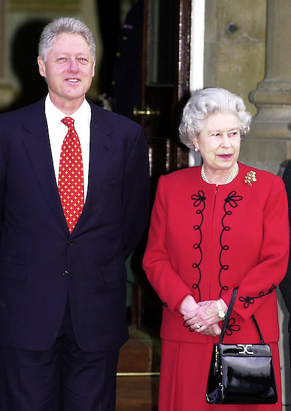 US President Bill Clinton and Britain's Queen Elizabeth II at Buckingham Palace in London.
