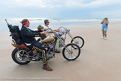 Sean Duggan with his 1936 Harley-Davidson Knucklehead alongside his riding partner Bill Buckingham with his 1936 Harley-Davidson Knucklehead custom chopper (that won top honors at Born Free 6) on the sands of Daytona Beach for the official start and stage Stage 1 of the Motorcycle Cannonball Cross-Country Endurance Run, which on this day ran from Daytona Beach to Lake City, FL., USA. Friday, September 5, 2014.  Photography ©2014 Michael Lichter.