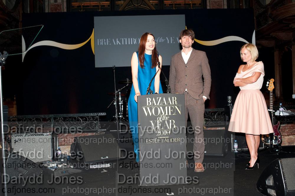 ROKSANDA ILICIC; ALEX JAMES; MARIELA FROSTRU, Harpers Bazaar Women of the Year Awards. North Audley St. London. 1 November 2010. -DO NOT ARCHIVE-© Copyright Photograph by Dafydd Jones. 248 Clapham Rd. London SW9 0PZ. Tel 0207 820 0771. www.dafjones.com.