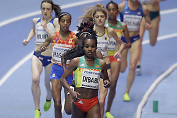 2018?3?1?.     ?????1???——????????3000?????.        3?1?? Genzebe Dibaba??????3000?????.        ????????????2018???????????3000????????????Genzebe Dibaba?8?45?05????????.        ???????·???????????.(SP) BRITAIN-BIRMINGHAM-TRACK AND FIELD-IAAF WORLD INDOOR CHAMPIONSHIPS DAY 1.(180301) -- LONDON, Mar. 1, 2018  Genzebe Dibaba (Front) of Ethiopia competes in the women's 3000m final during the IAAF World Indoor Championships at Arena Birmingham in Birmingham, Britain on Mar. 1, 2018. (Credit Image: © Tim Ireland/Xinhua via ZUMA Wire)