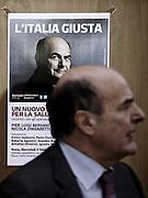 Sullo sfondo il manifesto di Pier Luigi Bersani per le politiche del 2013. Roma, 6 febbraio 2013. Christian Mantuano / OneShot