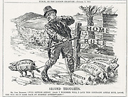 John Redmond (1856-1918) Irish politician, having trouble with Protestant North-East Ulster which opposed Home Rule. 'Punch', London, 8 October 1913.