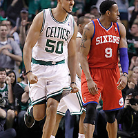 14 May 2012: Boston Celtics center Ryan Hollins (50) celebrates during the Philadelphia Sixers 82-81 victory over the Boston Celtics, in Game 2 of the Eastern Conference semifinals playoff series, at the TD Banknorth Garden, Boston, Massachusetts, USA.
