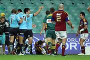 Tom Carter celebrates his try. NSW Waratahs v Otago Highlanders. Investec Super Rugby Round 17 Match, 11 June 2011. Sydney Football Stadium, Australia. Photo: Clay Cross / photosport.co.nz